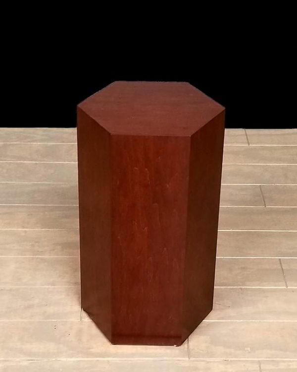 Dark Espresso Wood Modern Hexagon Pedestals