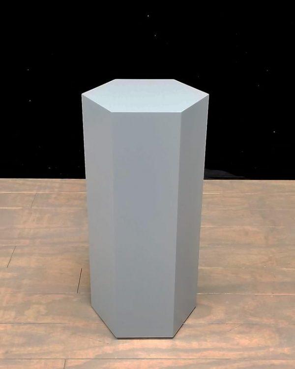 Grey Lacquer Modern Hexagon Pedestals