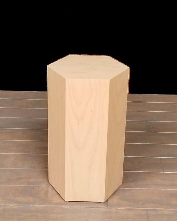Natural Maple Wood Modern Hexagon Pedestals