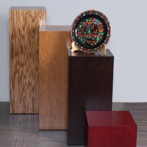 Stained Wooden Rectangular Pedestals